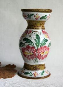Vase en grès bois Keraluc Quimper. Beau décor fleuri.