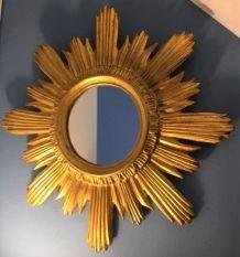 Miroir soleil ancien bois doré 44 cm, 1960