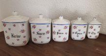 Série de 5 pots à épices vintage