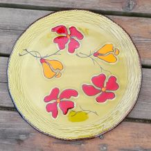 Plateau à tarte/gâteau céramique vernissé.  Poët Laval.
