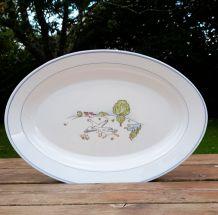 Plat oval arcopal motif champêtre et oies