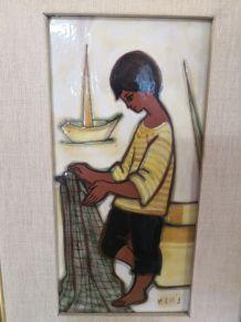 Cadre en céramique signé Maria Lluis