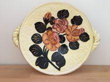 Ancien Grand Plat en Céramique (poterie barbotine) signé Val