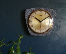 "Horloge vintage pendule murale silencieuse ""FFR Bleu Doré"""