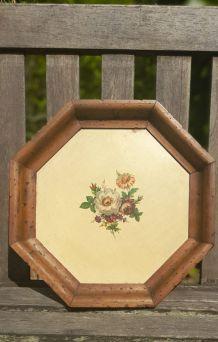 Plateau octogonal bois peint fleurs, art deco