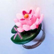 Bague réglable lac de fée aux lotus et au nénuphar