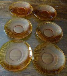 6 assiettes à dessert vereco ambre