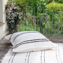 Housse de pouf + rembourrage - 120 x 120 cm - Blanc et noir