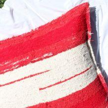 Housse de pouf + rembourrage - 90 x 90 cm - Rouge et blanc
