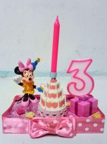 Bougeoir d'anniversaire Minnie Mouse, bougie chiffre