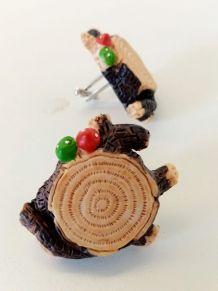 Boutons de manchette souche d'arbre, champignons