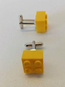 Boutons de manchette Lego®, briques jaunes