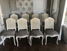 Lot de 8 chaises Louis XV