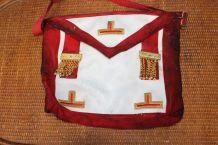 Tablier Franc-Maçonnerie Maçonnique rouge et cuir