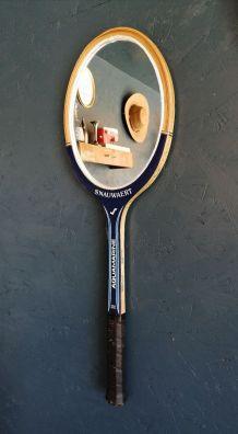 """Miroir mural ovale raquette tennis bois vintage """"Snauwaert A"""
