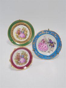 3 assiettes miniatures