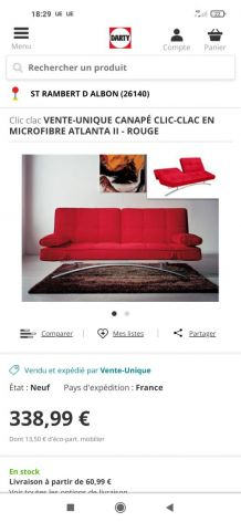 Superbe canapé clic clac rouge