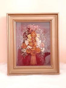 fleurs séchées dans cadre tableau, années 60/70