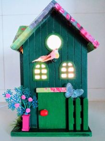 Lampe nichoir vert, lampe de chevet maison d'oiseau