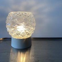 ANCIENNE LAMPE APPLIQUE MURALE VERRE MOULÉ