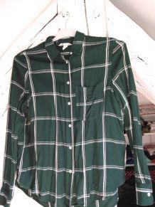 Chemise chemisier vert foncé écossaise bucheron femme taille
