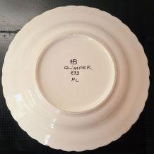 assiette creuse de collection HB Quimper signée numérotée