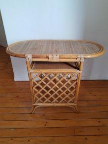 Console ou table vintage en bambou et rotin