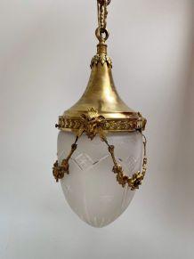 Suspension en bronze doré et verre dépoli XIXe