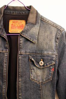 Veste en jean et cuir pas cher Replay