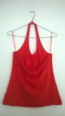T-shirt dos-nu rouge/orange.