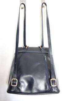 sac à dos en cuir bleu marine vintage