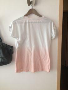 T shirt effet tye and Die blanc/ rose pale