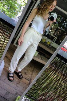 pantalon taille haute laine t36