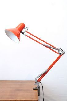 Lampe de bureau en fer orange vintage