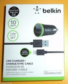 Chargeur de voiture BELKIN pour iPhone 5 5c 5s Compatible série 6
