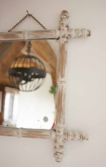 Miroir vintage imitation bambou