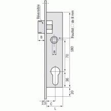 Serrure Métalux DOM bec de canne à cylindre- Tétière INOX Coffre 36 mm