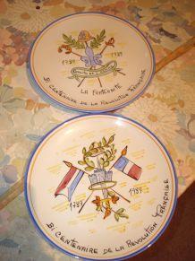 Lot de 6 Assiettes (Bi-Centenaire de la Révolution Française)