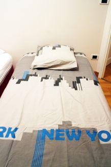 Housse de couette et taie d'oreiller Lit 1 personne New York