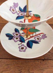 Double présentoir gâteaux vintage motif oiseaux