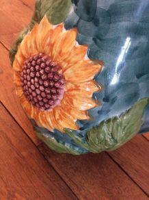"""Pot """"tournesol"""" en céramique vintage"""