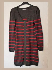 Robe/Tunique Anthracite Rayée Rouge en coton laine- 3 Suisses Collection