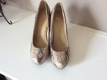 Chaussures escarpins Grise style python