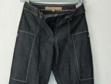 Pantalon Jean Bleu Marine Fines Rayures Blanches- T36-Scenic