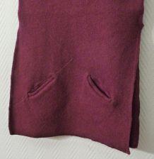 Jupe Longue 2 Petites Poches 100% laine Violet-T1-Tera Bora
