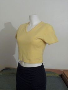 Tee Shirt/Top Court 100% Coton Jaune Encolure En V - 38/40