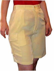 Short / Bermuda Long En 100% Soie Jaune Pastel