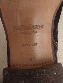 Bottines en 100% cuir Marron foncé- YVES SAINT LAURENT RIVE GAUCHE