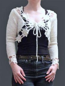 Gilet / Bolero en 100% coton Blanc- Taille M / L - My Collection Design