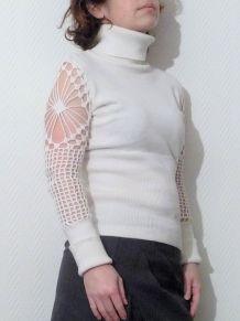 Pull Blanc À Manches Longues Ajourées - 34/36 - Together